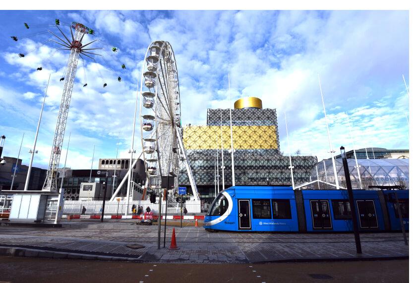 tram and ferris wheel